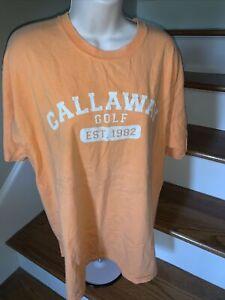 Distressed Orange CALLAWAY Golf Shirt Mens Size L T Shirt  ❤️tb5m12