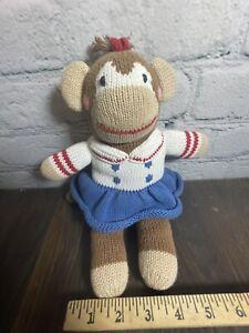 "Zubels Sock Monkey Girl In Dress Hand Knitted Plush 12"" stuffed baby lovey toy"