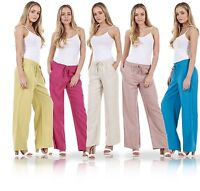 Ladies Linen Casual Trousers Holiday Elasticated Waist Womens Summer Pants