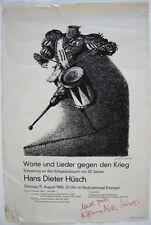 Hans Dieter Hüsch palabras contra la guerra cartel a. Paul Weber dedicatoria firmada 1968