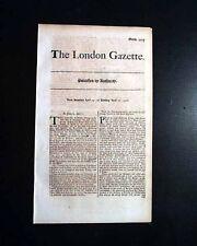 EARLY 18th Century Approx. 300 Yr Old LONDON GAZETTE England 1711-1719 Newspaper