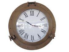 "Antique Brass Decorative Ship Porthole Clock 24""- Nautical Clock- Brass Clocks"