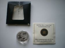 FINE SILVER 99.99% COIN, 2011 CANADA MAPLE LEAF $ 20 COMMEMORATIVE COIN + COA