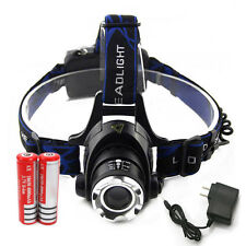 New 6000LM LED Zoomable Headlamp Head Light Torch + 2x18650 Battery + Charger US