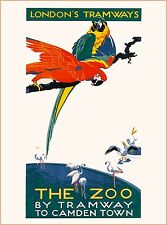 London Zoo Tramway Great Britain England Vintage Travel Advertisement Poster
