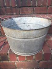 "Vintage Galvanized Steel Wash Bin Bucket Tub Apple Bobbing! 14"" Wide"