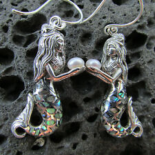 Mermaid Earrings | Abalone Paua Shell | Sterling Silver | Pearl