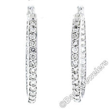Solid 18K White Gold Large 1.48ctw In and Out Round Diamond Oval Hoop Earrings