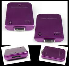 2X 2800MAH PORTABLE EXTERNAL PURPLE BATTERY CHARGER 30-PIN IPHONE 4S 4 IPOD NANO