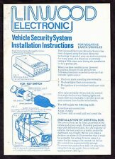 C1970 Lindwood Electronic Vehicle Security System. Installation Instructions