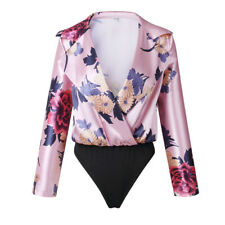 Sexy Womens Ladies Floral Print Tuxedo Wrap Over Satin Bodysuit Shirt Blouse Top
