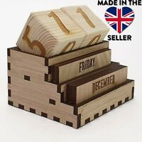 Wooden Reusable Desktop Perpetual Calendar UK Seller Made in the UK Free P&P SQR
