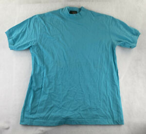 J Crew Short Sleeve Mock Neck Shirt Women's Size Large 100% Cotton Light Blue