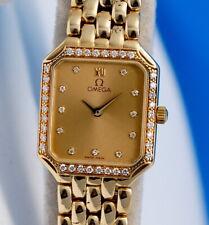 Ladies Omega Deville Solid 18K Gold Watch - Diamond Dial & Bezel