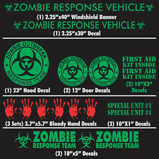 Zombie Outbreak Response Team 17 Piece Lime Green  Vehicle Decal Kit Car Truck