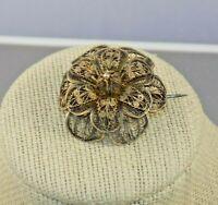 Antique Filigree Flower Brooch c1875 Austrian Lion Head Hallmark 750 Silver&10k