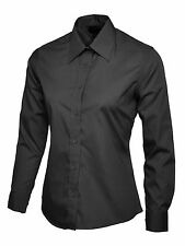 Uneek Ladies Poplin Full Sleeve Formal Shirt Work Office Long School Lot Black XXXXL Large