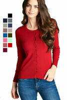 Women's Long Sleeve Open Front Cardigan Button Up Basic Light Knit Sweater