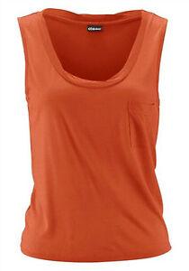 Damen kurzes Top Rundhals orangerot Gr. 34 36 38 40 42 44 Maschinenwäsche *011*