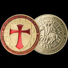 Moneta medaglia metallo cavalieri TEMPLARI croce militum christi sigillum