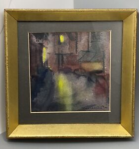 Vintage Abstract Watercolor Signed Herrington Framed