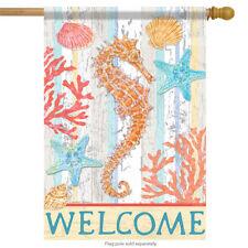 """Seahorse Summer House Flag Nautical Surf Sand Shells Beach Starfish 28"""" x 40"""""""