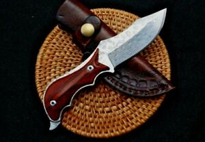 Mini Clip Point Knife Fixed Blade Hunting Combat Tactical Damascus Steel Premium