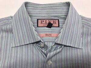 THOMAS PINK Men DRESS SHIRT 15 1/2 29 Cm Slim Fit Striped