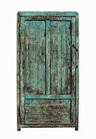 Chinese Distressed Blue Green Tall Iron Lock Armoire Wardrobe Cabinet cs2310