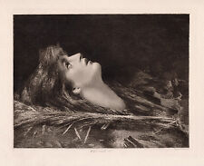 "Jean-Jacques HENNER Antique 1800s Etching ""Martyr Laid to Rest"" SIGNED COA"