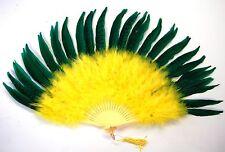 MARABOU FEATHER FAN - YELLOW w/ KELLY GREEN Pheasant; Sexy/Dress/Dance/Costume