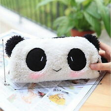 Panda Soft Plush Pencil Case Pen Pocket Cosmetic Makeup Zipper Bag Pouch OV