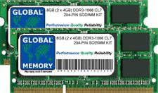 8GB (2 x 4GB) DDR3 1066MHz PC3-8500 204-PIN SoDIMM Memoria RAM Kit per computer portatili