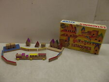 GOULA MADE IN SPAIN MINIATURES WOOD WOODEN TRAIN BUILDINGS CITY TOWN PLAYSET