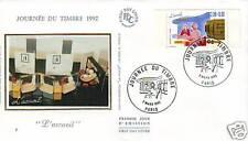 2744-ENVELOPPE 1° JOUR SOIE JOURNEE DU TIMBRE 1992