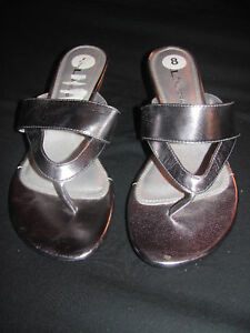 New Women's CL by Chinese Laundry Metallic Silver Strappy Thong Wedge Heels Sz 8