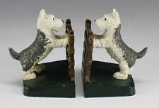 Cold Painted Cast Iron Bookends, terriers at the fence - charming dogs standing