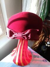 Vintage Womens Velour Red Bow Hat, Well MadeUnion.