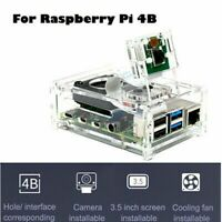 Raspberry Pi 4 Model B Clear Acrylic Case Enclosure Fan Box Cooling with To B9Z0