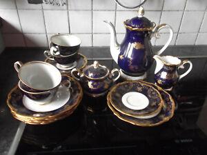 Reichenbach Porzellan-Kaffeeservice kobalt  blau + goldf.   komplett 6 Personen