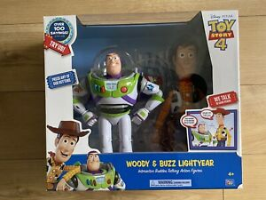 Toy Story 4 Interactive Buddies Figures Buzz Lightyear Woody MIB Brand New!!