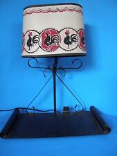 VINTAGE WROUGHT IRON PORTABLE ELECTRIC TABLE LAMP WITH EXTRA OUTLET