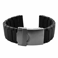 22mm Black Polyurethane Rubber Link Bracelet Watch Band Luminox 3050 3950 NAVY