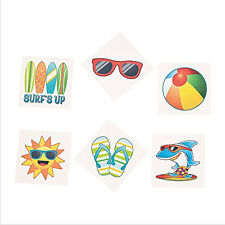 36 Assorted Beach Fun Kids Temporary Tattoos Party Favors