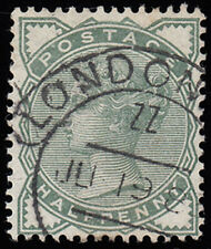 SG164 1880-81 ½d Deep green with London hooded circle cancel.