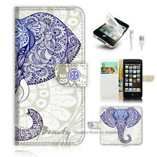 ( For iPhone 5 / 5S / SE ) Wallet Case Cover! P1889 Aztec Elephant