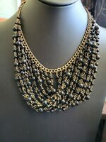 Vintage Egyptian Revival Bib Necklace Brass Tone Dangling Chain Deep Blue Beads