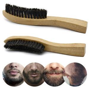 Natural Boar Bristle Beard Brush Mini Mens Mustache Hair Shaving/Facial Cleaning