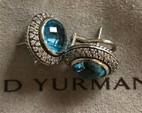 DAVID YURMAN ALBION LONDON BLUE TOPAZ DIAMOND EARRINGS 16mm OMEGA BACKS