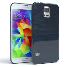 Schutz Hülle für Samsung Galaxy S5 / Neo Brushed Cover Handy Case Dunkelblau